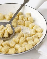 Potato Gnocchi with Butter and Cheese: a traditional recipe with three tasty variations: Carrot-Potato Gnocchi, Roasted Garlic-Potato Gnocchi and Rye-Potato Gnocchi.