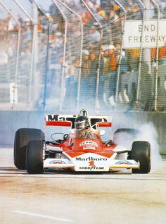 Hungover or still drink, James Hunt misses his braking point by a mile, Long Beach 1977