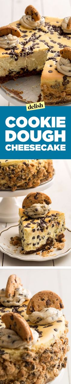 Cookie dough cheesecake is the dessert combo of your dreams. Get the recipe on D. - g-ideas-recipes. Cookie Dough Cheesecake, Chocolate Chip Cheesecake, Brownie Desserts, Chocolate Chip Cookie Dough, Cheesecake Recipes, Easy Desserts, Delicious Desserts, Dessert Recipes, Yummy Food