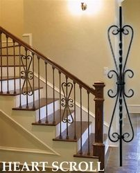 """Small Light Heart Scroll Baluster is square x wide x length. Scroll is made from x material """"Light Gauge"""". Metal Stair Railing, Wrought Iron Staircase, Wrought Iron Stair Railing, Iron Balusters, Luxury Staircase, New Staircase, Staircase Makeover, Staircase Design, Entry Stairs"""