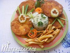 Rántott zeller sajtos bundában recept Zeller, Meat, Chicken, Food, Meals, Cubs