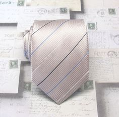 Blush Mens Tie. Blush Pink and Blue Stripes by TieObsessed on Etsy