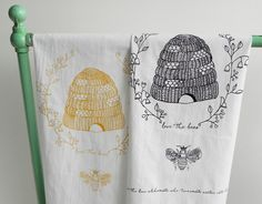 Beehive Flour Sack Tea Towel with Love the Bees by ArtThatMoves