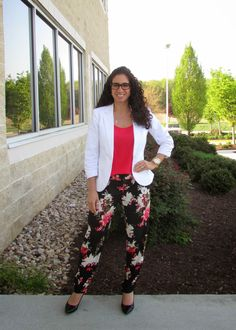 White Blazer, coral camisole & floral pants