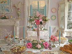 flowers, rose, silver & aqua table decor Z