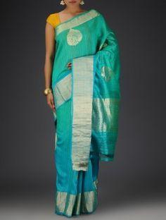 Sky Blue-Green Dupion Silk Floral Motif Zari Handwoven Saree