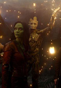 Groot & Zoe Saldana as Gamora - Guardians of the Galaxy