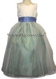 71e0b68b13a Custom Celedon Green and Ocean Blue Flower Girl Dresses Style 301  Periwinkle Wedding