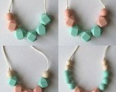 Blush and mint teething necklaces