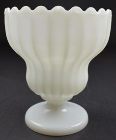 """Milk Glass Fluted Compote Style Scalloped Vase - 7.75"""" Tall"""