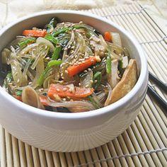 A vegetarian version of japchae (Korean stir-fried glass noodles with vegetables).