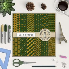"""Gold Digital Paper -  http://etsy.me/2ay3owo 12 arrows scrapbook paper: """"GREEN AND GOLD"""" with gold arrow patterns."""