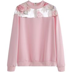 SheIn(sheinside) Pink Florals Mesh Insert Zipper Sweatshirt ($17) ❤ liked on Polyvore featuring tops, hoodies, sweatshirts, jumpers, pink, zipper sweatshirt, pink top, pink pullover, pink long sleeve top and floral sweatshirts