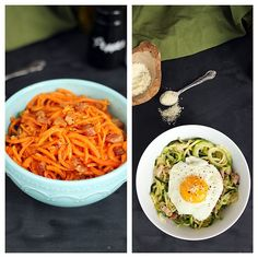 Spiralized Pasta Carbonara, Two Ways — Inspiralized