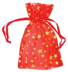 "2 3/4"" x 3"" Red organza with Gold Stars"