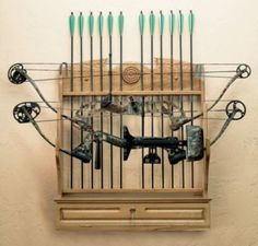 Crafted of solid oak, our Classic Bow Rack not only creates a sturdy, organized bow storage area, it also  makes a great-loo.