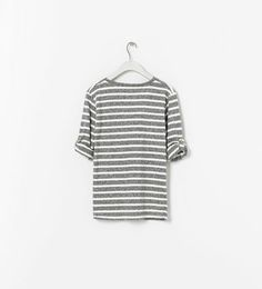 Image 2 of BUTTON-TAB STRIPED T-SHIRT from Zara