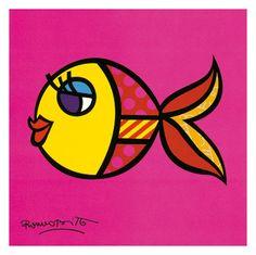 Pop art painting Nice Fish. Prachtige kunstdruk geprint op extra stevig papier. Ideaal voor inlijsten. Swimmingly fish art.