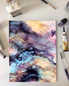 ( alcohol inks and gold leaf on yupo Jess Kirkman ? ( alcohol inks and gold leaf on yupo Alcohol Ink Crafts, Alcohol Ink Painting, Alcohol Ink Art, Pour Painting, Acrylic Pouring Art, Acrylic Art, Pintura Graffiti, Drawn Art, Guache