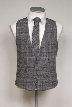 Grey with cream & burgundy over check Harris tweed waistcoat with matching…