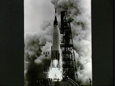 """Mercury-Atlas 7 (MA-7), carrying astronaut M. Scott Carpenter in """"Aurora 7"""" capsule, launched from Pad 14, Cape Canaveral, FL on May 24, 1962. Photo: NASA S62-02849"""