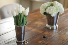 vintage mint julep cups as vases.