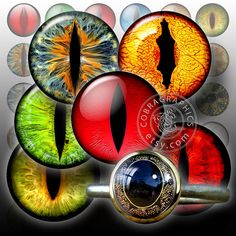Creature Eyes - 18mm, 16mm, 14mm, 12mm, 10mm, 8mm, 5mm Digital Collage Sheets - Glass Cabochon, Resin Pendant Downloadable Images - CG-459