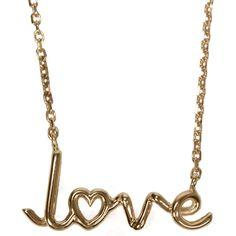 "Hirshleifers - Solange - ""Love"" Written Gold Pendant Necklace  (Gold), $2,000.00 (http://www.hirshleifers.com/jewelry/fine-jewelry/necklaces/solange-love-written-gold-pendant-necklace-gold/)"