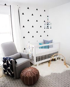 Black And White Modern Baby Boy Nursery Neutral