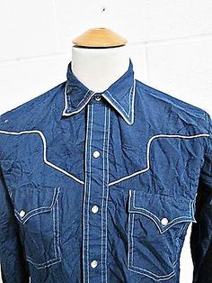 Vintage 90s Cowboy Yoke Rock Star Navy Blue Indie Shirt Small