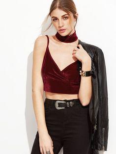 b4e160406716e  ad Velvet Overlap Top With Choker. Price   18.00. Burgundy Sexy Velvet  Plain