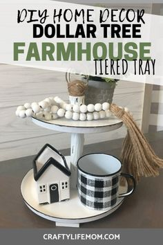 Create this Dollar Tree tiered tray to add farmhouse decor to your home. This DIY is eay to re-create and decorate seasonally within your home. Tree Diy Dollar Tree Farmhouse Tiered Tray used to add home decor to your home