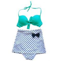 Rosegal.com - can't wait to get this suit!  Vintage Halterneck Bow Polka Dot Print Women's Bikini Swimsuit