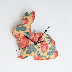 Rose Bunny Clock - hardtofind.$65.00 (maybe I could make my own?!?!?!)