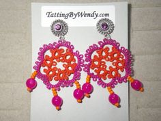 Tatted retro hot pink burnt orange and fuchsia earrings inspired by a friend's passion for all things India ... by TattingByWendy, $20.00