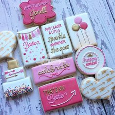 Birthday cookies #birthdaycookies #besties #pinkandgoldcookies #natsweets #sandiego #sandiegobakery by natsweets