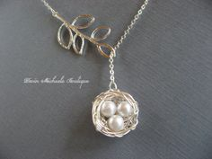 Mothers Day Necklace Silver Bird Nest Necklace by DevinMichaels, $22.00  (mine has four eggs, of course!)