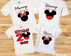 Red minnie and mickey Birthday Family Shirts Mickey Mouse Family Shirts, Mickey Mouse Birthday Shirt, Theme Mickey, Mickey Mouse Outfit, Mickey Y Minnie, Birthday Boy Shirts, Mickey Party, Disney Shirts For Family, Shirts For Girls