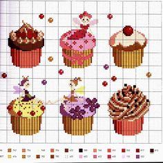 Ricami e schemi a Punto Croce gratuiti: Schemi a punto croce dolci, dolcetti e torte