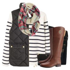 J.Crew vest, striped top & plaid scarf