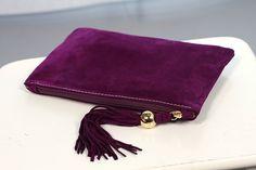 Purple Suede Clutch with Tassel art.S64R41 by meudeus on Etsy
