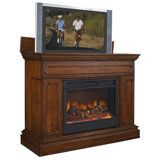 Remington Electric Fireplace TV Lift Cabinet with Motorized Lift - Brown