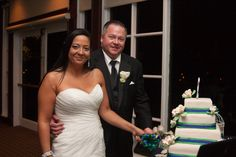 Cutting the Cake  Navy & Green Country Club Soiree on Borrowed & Blue.  Photo Credit: Jillian Joseph Photography