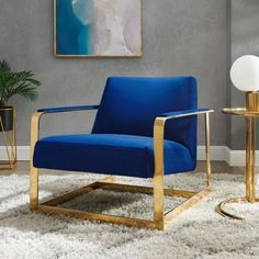 Blue Velvet Square Gold Frame Arm Chair Velvet Furniture, Gold Furniture, Furniture Decor, Velvet Accent Chair, Accent Chairs, Habitat Furniture, Gold Wall Decor, Couch Design, Upholstered Chairs