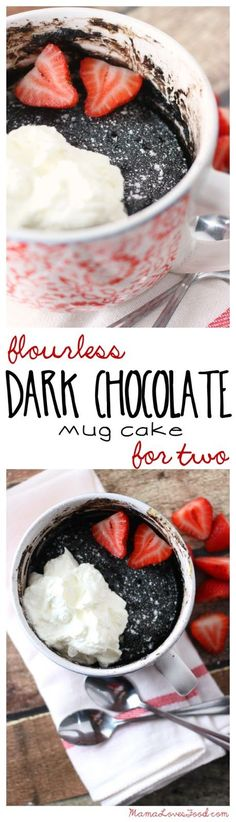 Flourless Dark Chocolate Mug Cake for Two
