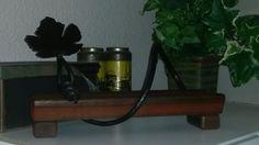 Single wine bottle cradle/holder with iron vine work. By Mac's Custom Creations