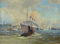"Johannes Harders, 1871 Kellenhusen-1950 Hamburg, ""The Cap Arkona leaves the port of Hamburg"", oil on canvas, signed bottom right, with minor surface damage, approximately 60x80cm"