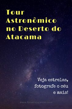 Uma das melhores experiências que tivemos no Deserto do Atacama foi o tour astronômico que fizemos com a agência SPACE. Ver estrelas e constelações a olho nu e com telescópios super-potentes, além de ter a oportunidade de fotografar o céu incrivelmente estrelado do deserto mais árido do mundo! #chile #atacama #estrelas. Foto por Mink Mingle, disponível em Unsplash (https://unsplash.com/photos/NORa8-4ohA0)