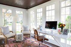 Sunroom Office, Small Sunroom, Sunroom Playroom, Front Office, Small Office, Pink Office, Home Office Design, Home Office Decor, House Design
