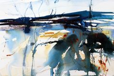 A very wet day in January. Semi abstract watercolour by Adrian Homersham.